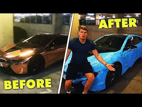 I WRAPPED JMX'S $100,000 CAR IN BLUE TACK!!!! & Then This Happened....