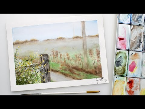 Watercolor LANDSCAPE - fog and flowers fence painting demo