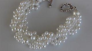 Beaded Bracelet for beginners. Seed beads Pearls.Bead weaving