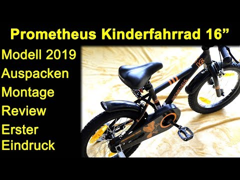 Prometheus Kinderfahrrad 16 Zoll Modell 2019 - Auspacken Montage Einstellungen Review Deutsch