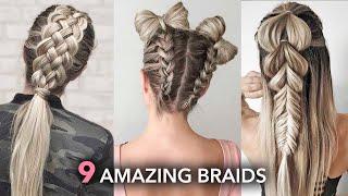 9 Amazing Braids And Hairstyles 😍 DIY Tutorials By Nina Starck