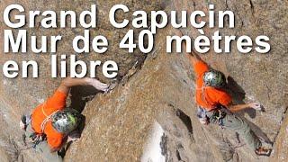 Grand Capucin voie Bonatti Ghigo mur de 40 mètres en libre escalade alpinisme Chamonix - 8476