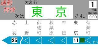 架空・合成音声京浜東北線通勤特快大宮行東京到着前放送