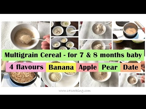 Video 7 & 8 months babyfood recipe | Multigrain breakfast cereal for 7 - 8 months baby ( with 4 flavours )