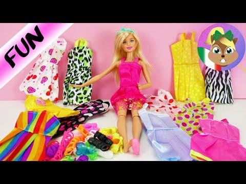 BARBIE 12 outfit e 12 paia di scarpe per le tue bambole | Cambia vestiti ogni giorno e decidi tu gli