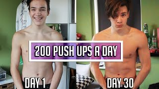 200 PUSH UPS A DAY FOR 30 DAYS CHALLENGE - Body Transformation RESULTS - dooclip.me