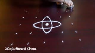 simple kolam rangoli designs with 5 dots || chukkala muggulu by Rajeshwari Arun