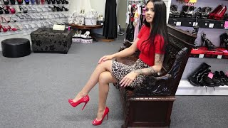 Review Walking Red Single Sole Pleaser Open Toe High Heel Pump Shoes Closed Back Unbox By Rose