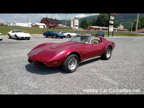 1976 Dark Red Corvette T Top Stingray For Sale Video