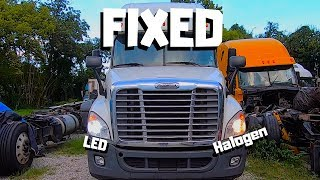 MECHANICAL DAMAGED Freightliner Cascadia Bought At Auction | LED VS Halogen Bulbs In Semi Truck