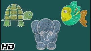 How To Draw FISH, ELEPHANT & TURTLE (HD) | Drawing And Coloring Videos | Shemaroo Kids Hindi