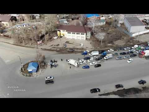 Карантинную пробку на въезде в Самару сняли с квадрокоптера