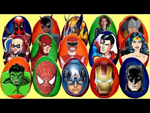 Lots of Superhero & Villains Play-Doh Surprise Eggs with Spiderman Ironman & Batman