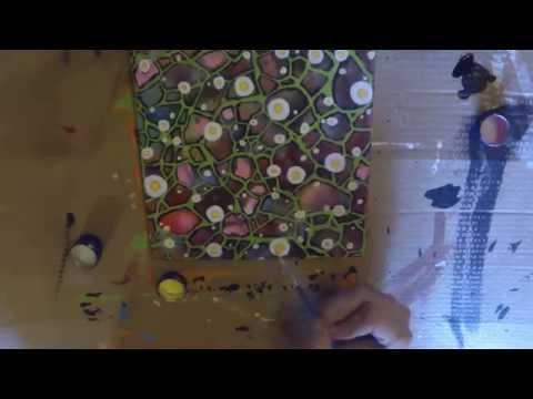 Abstrakte Acrylmalerei - Magariten im Mosaik - Leinwand