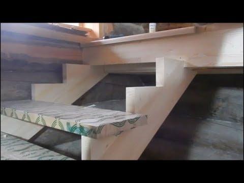 Монтаж лестницы /Как закрепить косоур на перекрытии в 200 мм. / ступенька 48