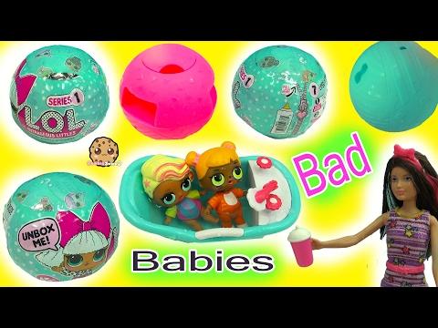 Barbie Doll Babysits Bad Babies - LOL 7 Layer Surprise Blind Bag Baby Balls Cry? Color Change?