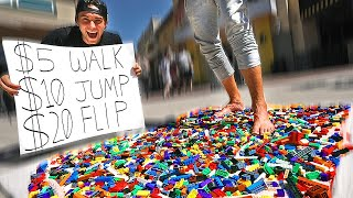 Paying strangers to WALK ON LEGOS BAREFOOT! *FLIP for $20*