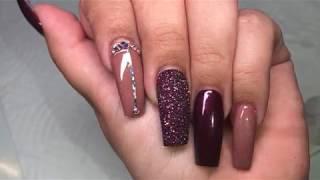 Long Coffin Nail Design  Fall Nails !