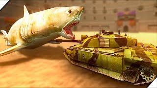 ОГРОМНАЯ АКУЛА МЕГАЛОДОН против ТАНКА - Игра Beast Battle Simulator. Битва динозавров