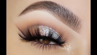 CLASSIC SILVER GLITTER EYE MAKEUP TUTORIAL