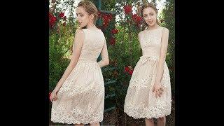 NZ027za Strapless Beige Lace Little Party Dress Junior Bridesmaid Dressvideo