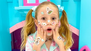 Nastya pretends that she has a sticker pox and goes to Dad