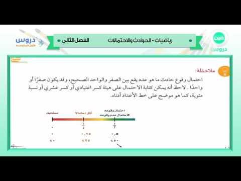 الاول المتوسط| الفصل الدراسي الثاني 1438 | رياضيات | الحوادث والاحتمالات