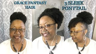 QUICK AND EASY 4B 4C KINKY CURLY PONYTAIL FT GRACE FANTASY HAIR COMPANY