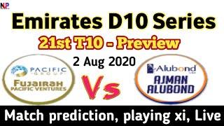 Emirates D10 League 21st match previews 2020 | AAD vs FPV 21st t10 | Emirates D10 Live, Dream11 2020