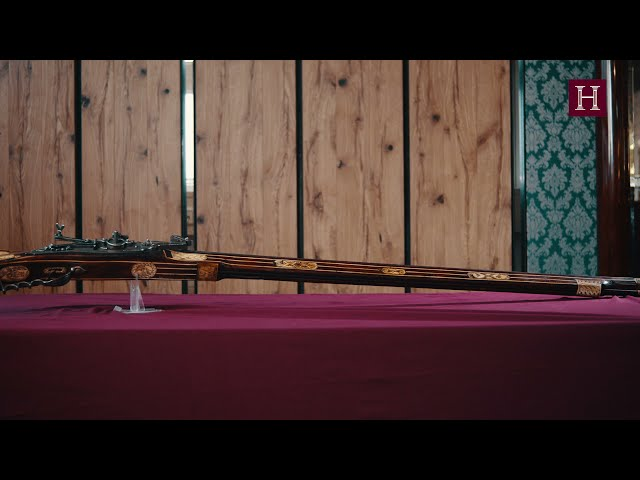 A German heavy musket with combined match- and wheellock, dated 1628