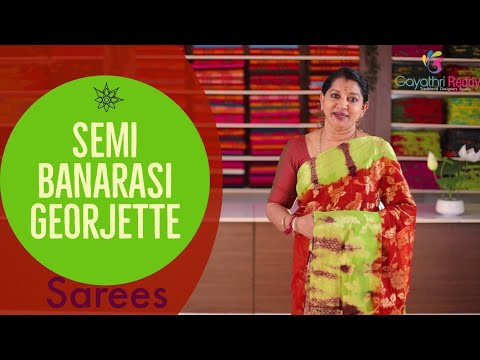 "<p style=""color: red"">Video : </p>Semi Banaras Georjette Sarees Collections 