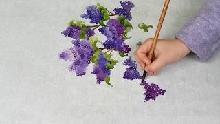 Как нарисовать Сирень и Воробьи урок Lilac and Sparrows Painting tutorial 라일락과 참새 그림 그리기