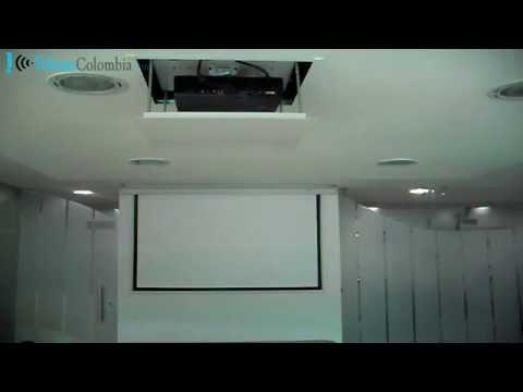Ascensor y pantalla con sistema eléctrico para VIDEO BEAM | Instalación en techo drywall