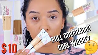 NEW AT THE DRUGSTORE! MAYBELLINE  SUPER STAY FULL COVERAGE CONCEALER | REVIEW & DEMO