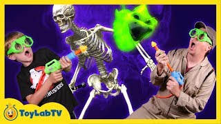 GET SLIMED #2: Ghostbusters vs Slimy Ghost In Real Life Messy Ghost Hunt w/ Toys in Funny Kids Video