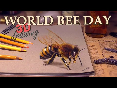 3d drawing and coloring of a bee by stefan pabst