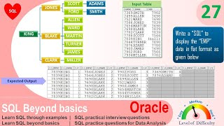 Oracle SQL Practical question | SQL to fetch Emp hierarchical data in Flat format