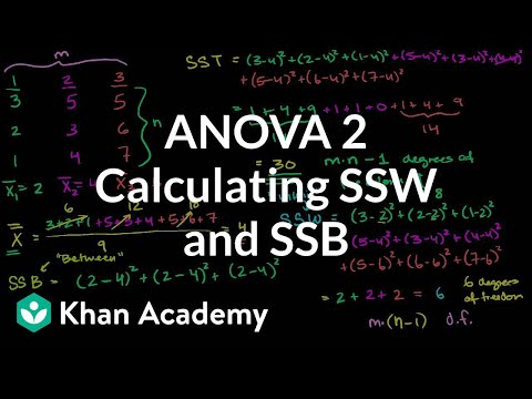 ANOVA 2: Calculating SSW and SSB (total sum of squares within and between) | Khan Academy