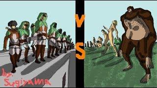 進撃の巨人season3獣VS調査兵団手描きアニメで再現