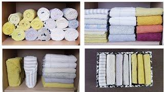 Как сложить полотенца КРАСИВО, КОМПАКТНО, УДОБНО👍. Много способов хранения полотенец!