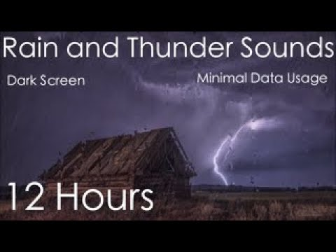 Heavy Rain with Rolling Thunder 12 Hours | Black Screen For Sleeping and Minimal Data Usage