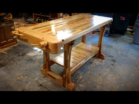 Workbench with vice made out of scrap wood [13:36]