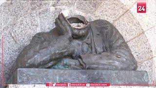 تحطيم تمثال نصفي للاستعماري البريطاني رودس في جنوب إفريقيا
