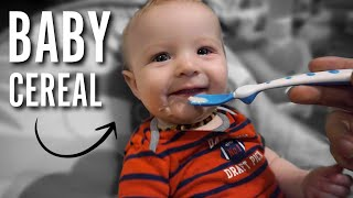 Baby's First Time Eating Cereal! | Baby Food at 4 Months