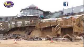 Aftermath of storms battering Newquay's Fistral Beach