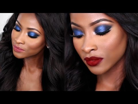 BLUE SMOKEY EYE TUTORIAL| 2 LIP OPTIONS | KIM K INSPIRED