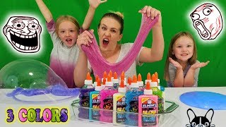 3 Colors of Glue Slime Challenge w/ My Little Sister!! Glitter & Glow in the Dark Elmers Glue Slime!