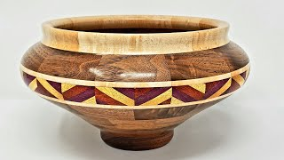 Woodturning a Walnut & Maple Potbelly Segmented Bowl with Feature Ring