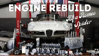 Assembling the engine for the 1967 Alfa Romeo Spider project.