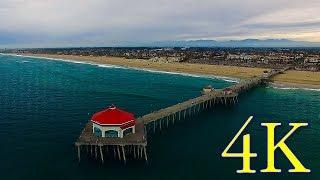 Phantom 3 Pro Drone Flight over Huntington Beach, California in 4K UHD